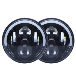1 Pair 72W 7'' Jeep Wrangler JK Half Halo Led Headlights with High Low Beam DRL Turn Signal
