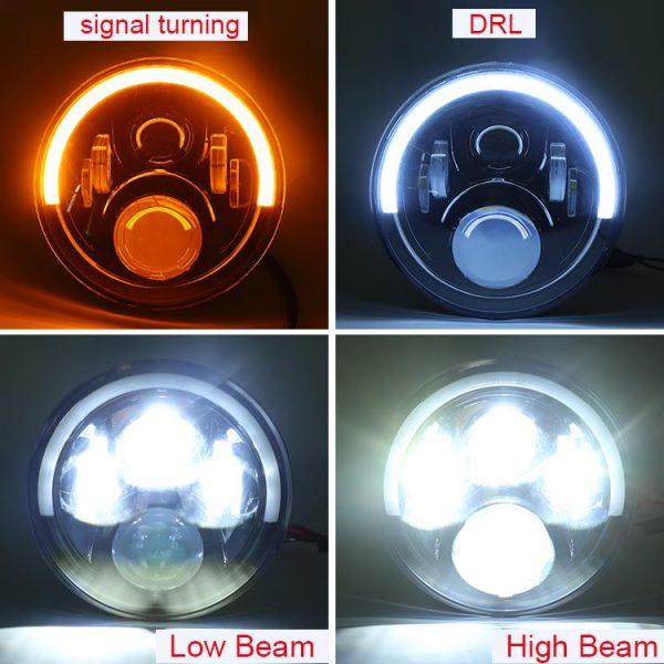 1 Pair 72W 7'' Jeep Wrangler JK Half Halo Led Headlights with High Low Beam DRL Turn Signal
