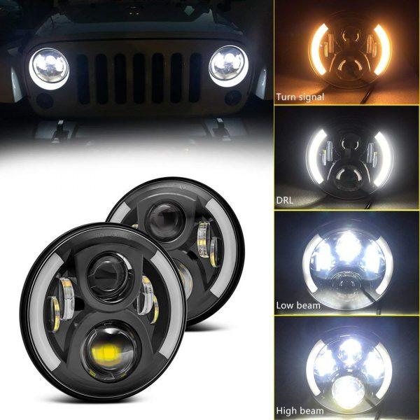 1 Pair 7'' 72W Jeep Wrangler JK Angel Eyes Led Headlights with High Low Beam DRL Turn Signal