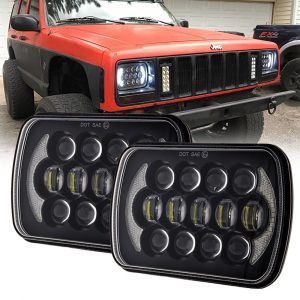 1 Pair 105W 5x7'' Square Jeep Wrangler YJ Led Headlights with High Low Beam DRL