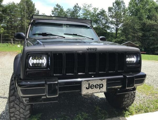 5X7 Square Led Headlights for Jeep Wrangler YJ Cherokee XJ Show