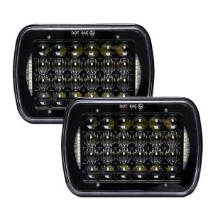 1 Pair 72W 5x7 inch Honeycomb Led Headlights for Jeep Wrangler YJ 86-95 with High Low Beam DRL