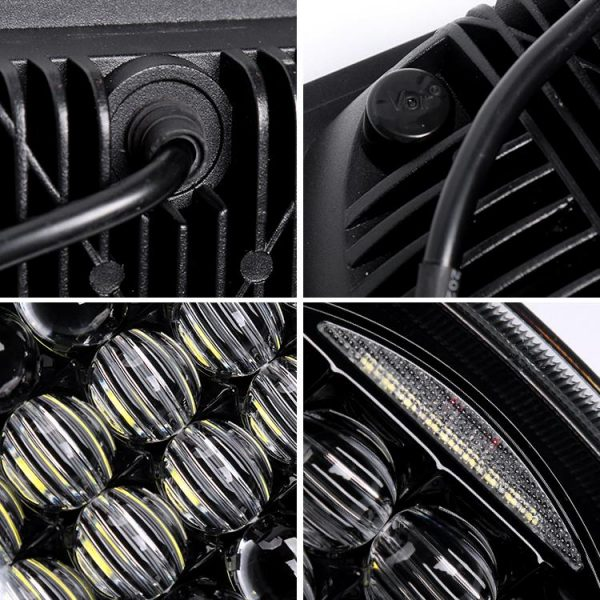 5x7 inch Honeycomb Led Headlights for Jeep Wrangler yj xj Details