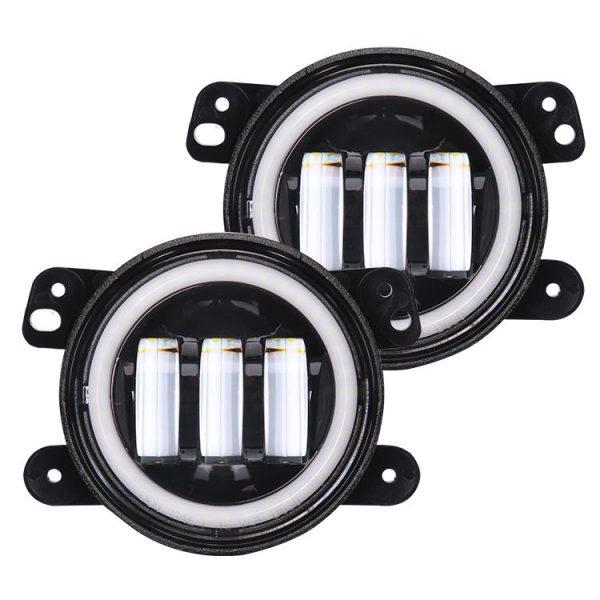 1 Pair 30W 4'' Led Halo Fog Lights for Jeep Wrangler JK 2007-2018
