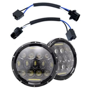 1 Pair 75W 7'' Round Led Headlights for Jeep Wrangler JK with High Low Beam DRL
