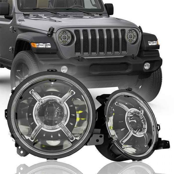 """100W High Low Beam JL 9"""" LED Projector Headlamp """"X"""" Halo DRL Headlights Replacement For Jeep Wrangler JL 2018 2019 2020"""