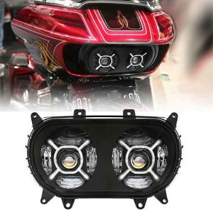 2015+ Road glide headlight led twin headlight dual headlight with DRL passing light for Harley motorcycle accessories