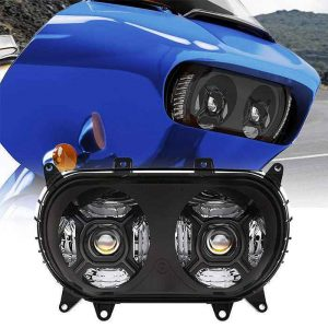 2015 UP Dual LED Headlamp Road Glide LED Motorcycle Projector Headlight 124W High/Low Beam