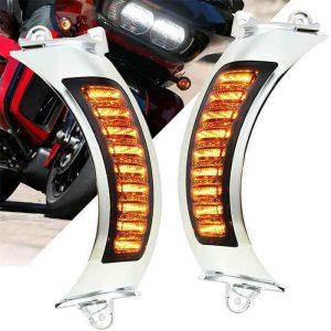 2015 UP Road Glide Turning Lights White DRL Amber LED Turn Signal Side Lights For Harley Davidson Road Glide 2015-2020