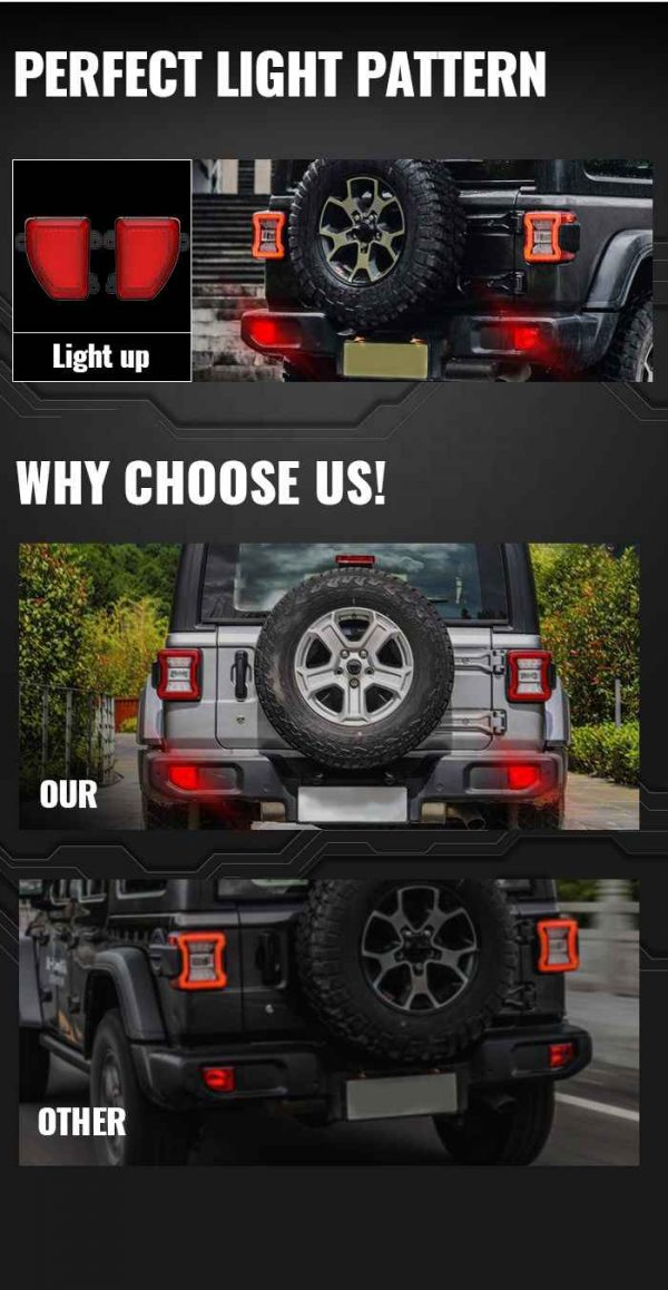 2018 2019 2020 jl rear fog lights for jeep jl bumper for jeep rubicon