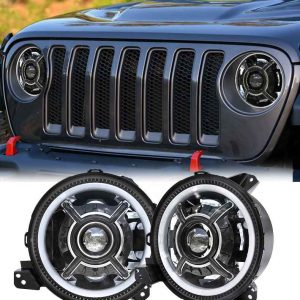 2018 jl headlights for jeep led headlight 9 inch for jeep jl headlight with halo ring