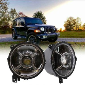 2019 For Jeep Wrangler JL 9 Inch Projector LED Headlight 80W High/Lo Beam With Halo