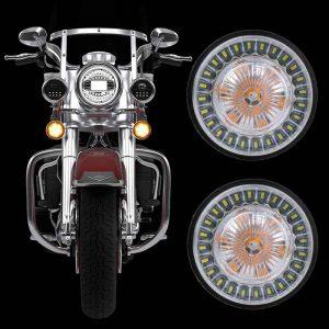 """2"""" LED Turn Signal Kit for Harley Davidson Front 1157 Rear 1156 LED Turn Signals with lens brake-turn/reversing/running light"""