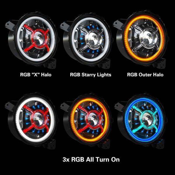 For 2018-2020 Jeep JL Projector Headlamp Bluetooth Control LED Halo Headlights RGB Halo JL Headlamp