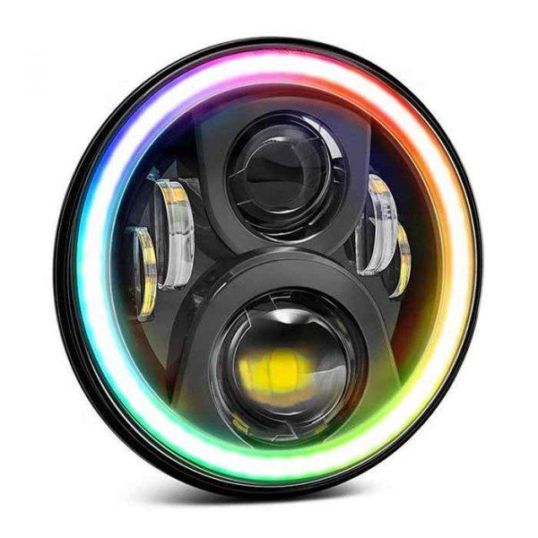 For 97-'17 Jeep RGB headlight 7 inch phone app control RGB headlight for Wrangler TJ LJ JK Unlimited