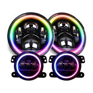 For Jeep Wrangler JK 7 Inch RGB Halo Angel Eye LED Headlights with 4 LED Fog Lights