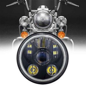 For royal enfield headlights 5.75 inch led headlights DOT approval round halo headlights for Harleydavison