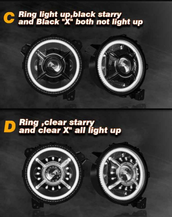 """Hot Selling JL 9 Inch Round LED Headlight """"X"""" Halo High/Low Beam JL Projector Headlight for Jeep Wrangler JL"""