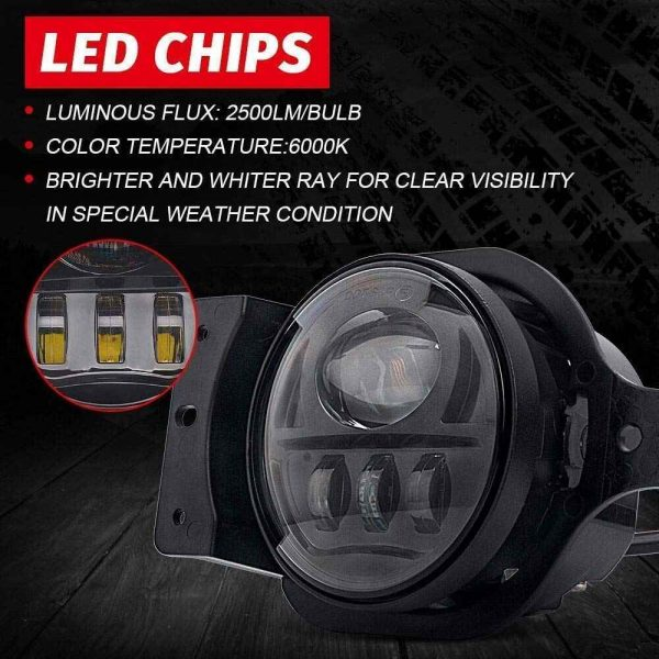 LED Fog light for Jeep JL 2018 2019 bumper lights round fog lamp with bracket replacement for JL RUBICON/SAHARA/SPORT