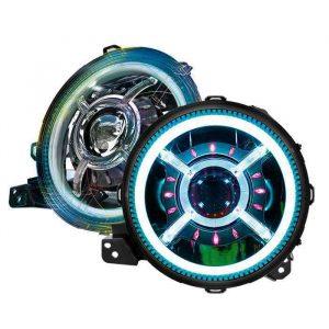 "MorSun DOT Approved 9"" Round RGB Headlamp Bluetooth Control 9 Inch Halo LED Headlight For Jeep Wrangler JL JT"