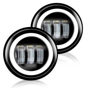 White DRL 4.5 Inch Round LED Fog Light Motorcycle LED Passing Light for Harley Davidson