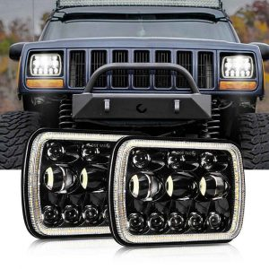 """White DRL/ Amber turn Halo Headlights 69W 7x6 5X7"""" Square LED Projector Headlight  For Jeep Cherokee Truck"""