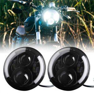 White DRL Yellow Turning Led Motorcycle Headlight 7 inch Round Led Headlamp