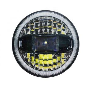 White/Amber Switchback Full Halo LED Headlight 7 Inch Round LED Projector Headlight For Motorcycle Jeep JK JL