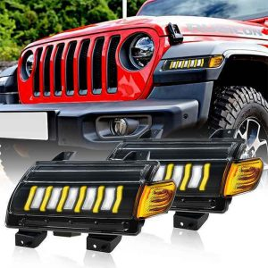 Wrangler JL Rubicon Sahala Front Turn Signal Lamps White DRL Amber Turn Signal Lights For Jeep Rubicon Sahala